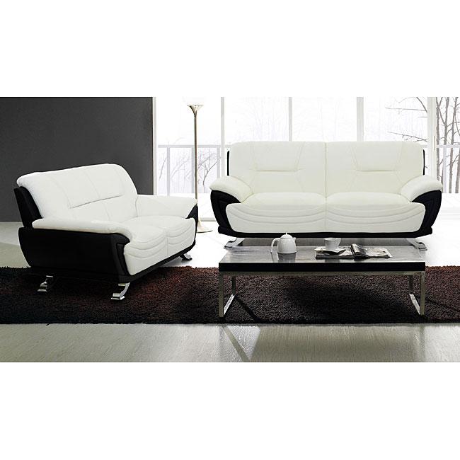 Alicia White/ Black Two-tone Modern Sofa and Loveseat Set
