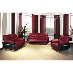 Alicia Red/ Black 3-piece Modern Sofa Set