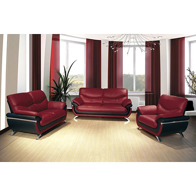 European Alicia Red/ Black 3-piece Modern Sofa Set - 14314715 ...