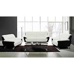 Alicia White/ Black 3-piece Modern Sofa Set