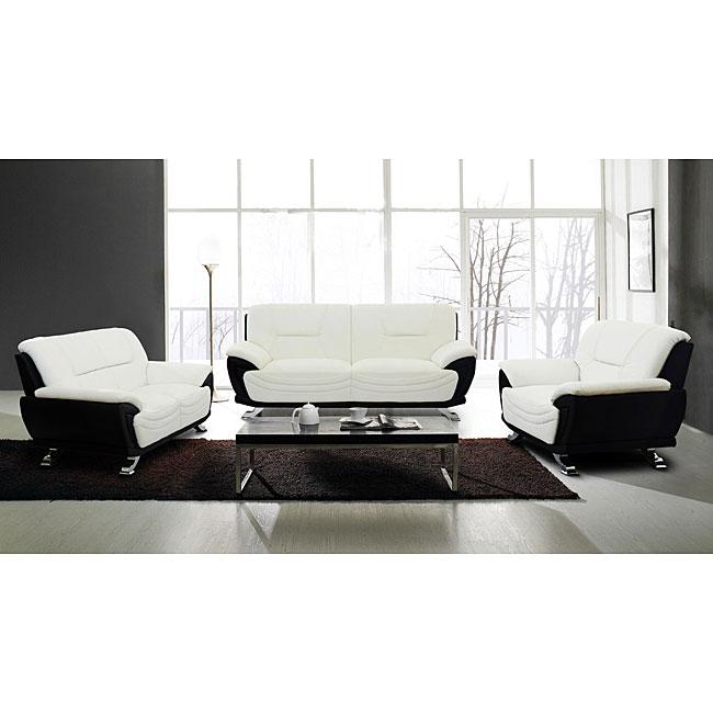 European Alicia White/ Black 3-piece Modern Sofa Set