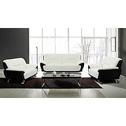 European Alicia White/ Black 3-piece Modern Sofa Set