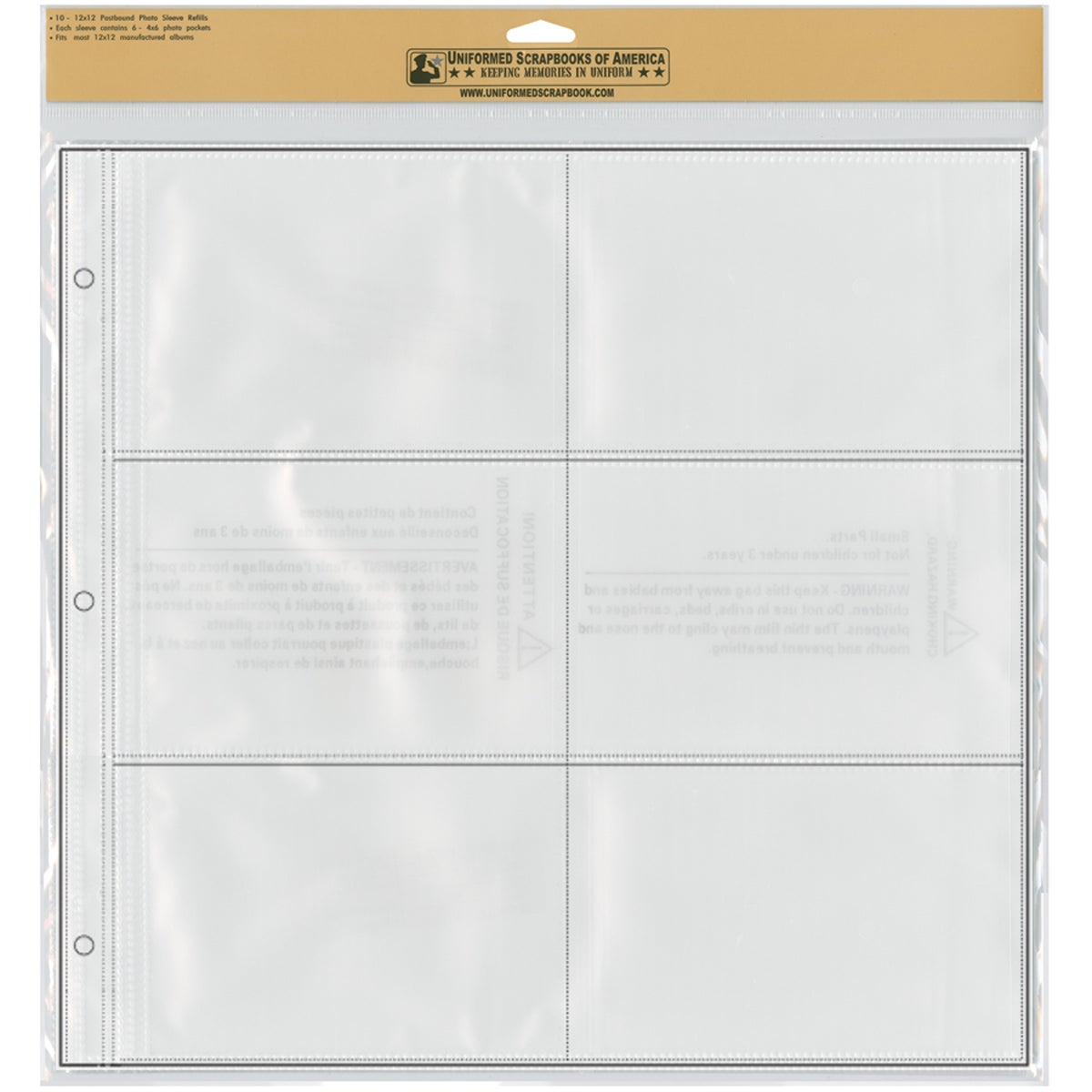 """12""""X12"""" Photo Sleeve Refill Pages 10/Pkg-6 - 4""""X6"""" Photo Pockets Per Page"""
