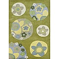 Alliyah Handmade Green Flower Design Wool Rug
