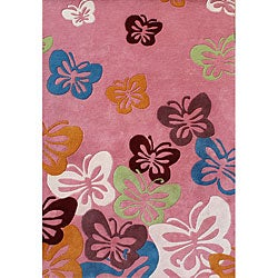Alliyah Handmade Pink New Zealand Blend Wool Rug  (8'x10')