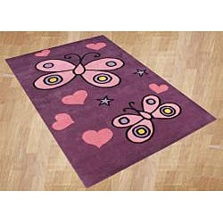 Alliyah Handmade Pink Butterfly Design Wool Rug