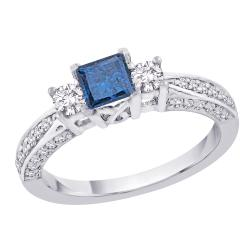 14K White Gold 1ct TDW Blue and White Diamond Ring (G-H, I1)