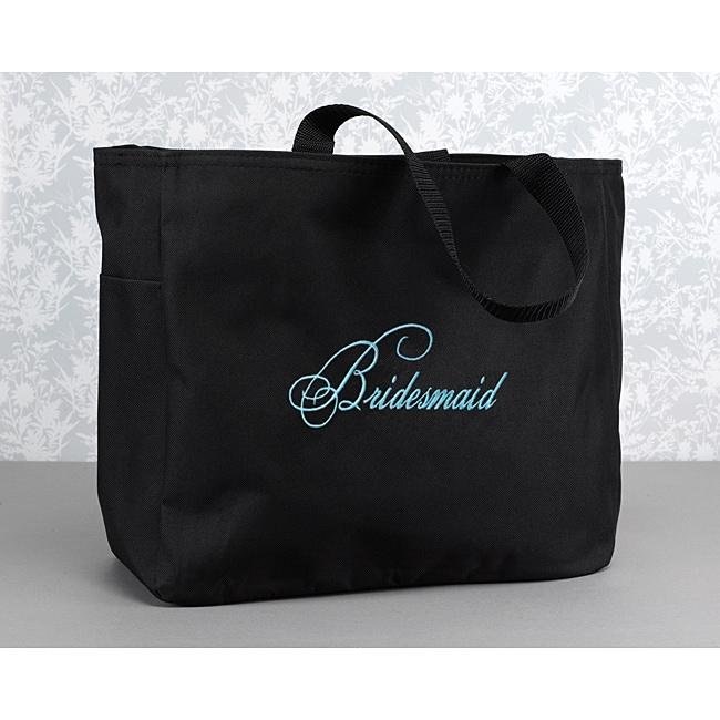 Hortense B. Hewitt Bridesmaid Flourish Black Polyester Tote Bag