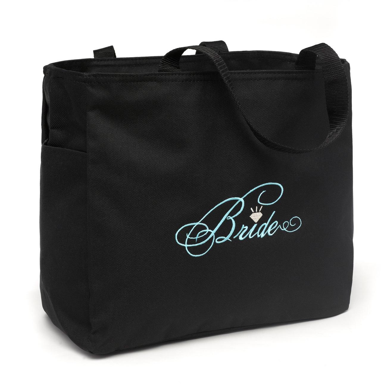 Black 'Bride' Diamond Design Silver-embroidered Polyester Tote Bag