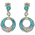 CGC Sterling Silver Created Opal and Brilliant CZ Circle Drop Earrings