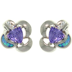 CGC Sterling Silver Created Opal and Purple CZ Floral Earrings