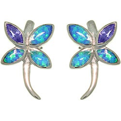 CGC Sterling Silver Created Opal and Purple CZ Spring Butterfly Earrings
