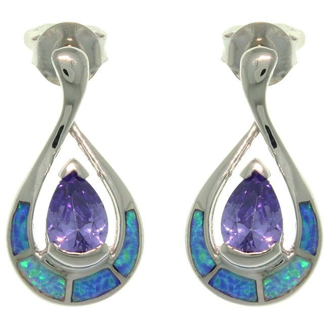Carolina Glamour Collection Sterling Silver Created Opal Tear Drop with Purple CZ Earrings