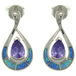 CGC Sterling Silver Created Opal Tear Drop with Purple CZ Earrings