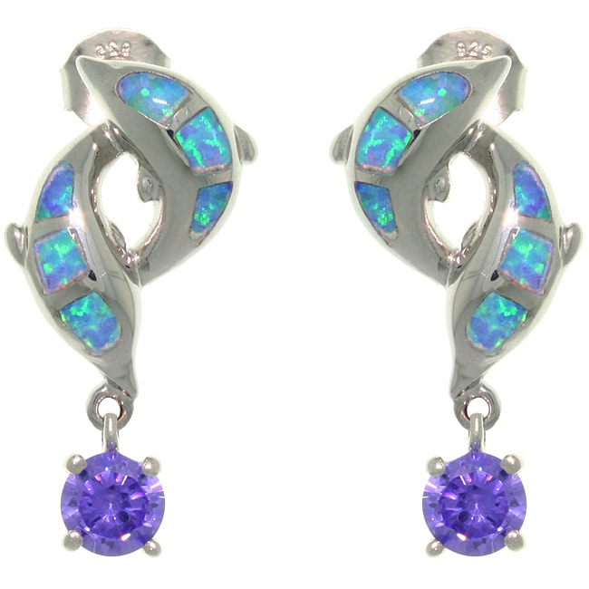 CGC Sterling Silver Created Opal Double Dolphins with CZ Drop Earrings