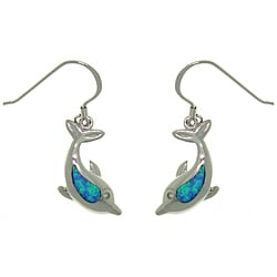 CGC Sterling Silver Created Opal Sea Dolphin Earrings