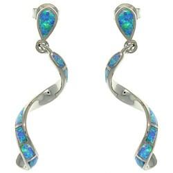 CGC Sterling Silver Created Opal Twist Earrings