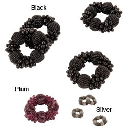 Stylish Beaded Napkin Rings (Set of 4)