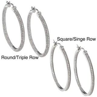 La Preciosa Sterling Silver Inside Outside Hoop Earrings