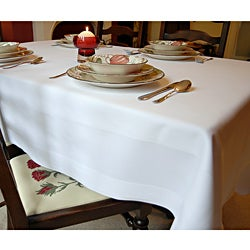 White Satin Band Egyptian Cotton 54x54-inch Tablecloth