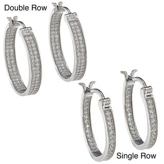La Preciosa Sterling Silver Micro-pave Hoop Earrings