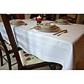 White Satin Band Egyptian Cotton 72x72-inch Tablecloth