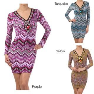 Tabeez Women's Embellished V-neck Dress