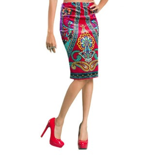 Tabeez Women's Velvet Printed Pencil Skirt
