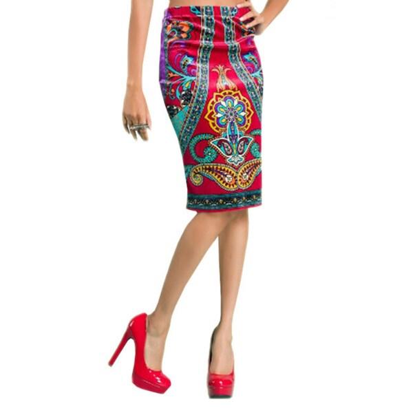 Tabeez Women's Velvet Printed Pencil Skirt