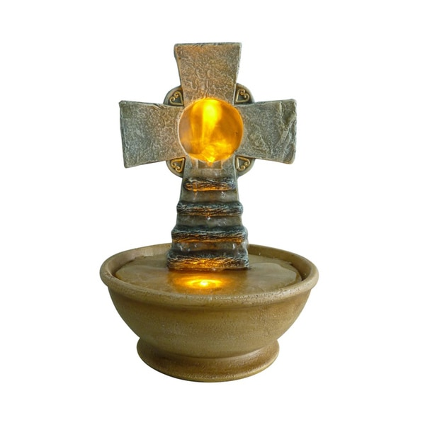 Tabletop Cross LED 9-inch Fountain