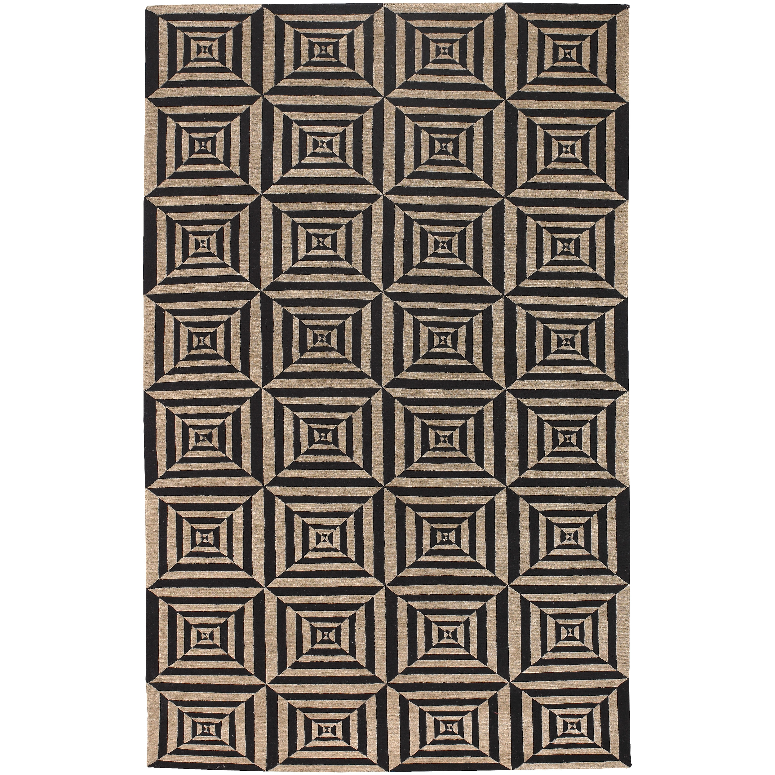 Hand-knotted Multicolored Oconto Hand Carded New Zealand Wool Rug (2' x 3')