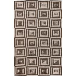 Transitional Hand-Knotted Multicolored Oconto Hand-Carded New Zealand Wool Rug (5' x 8')