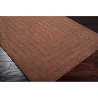 Hand-crafted Brown Geometric Brown Oconto Wool Rug (2' x 3')