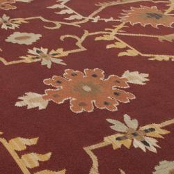 Hand-woven Multicolored Burgundy Portage New Zealand Wool Rug (8' x 11')