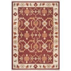 Hand-woven Multicolored Burgundy Portage New Zealand Wool Rug (9' x 13')