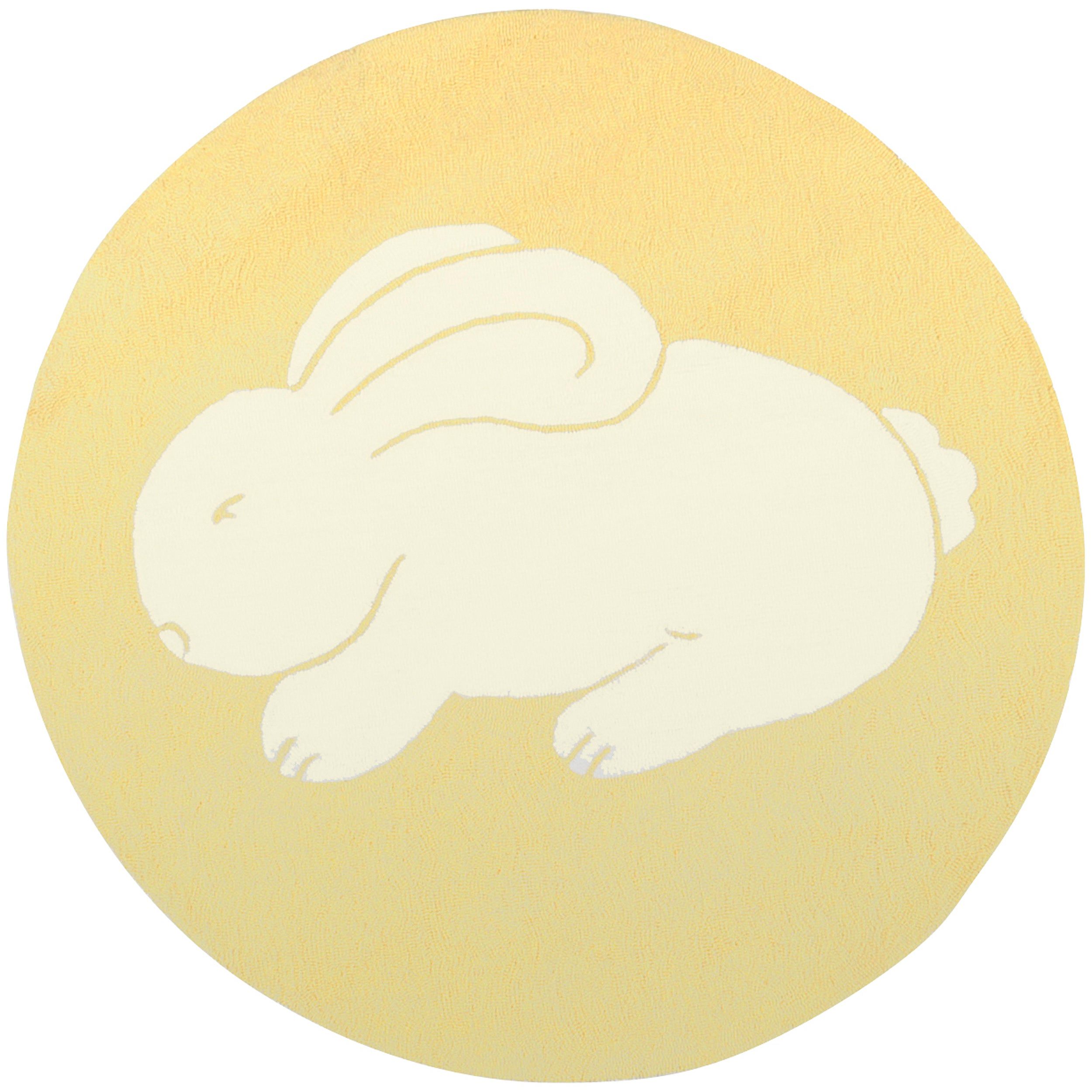 Hand-Hooked Yellow/Multicolored Bunny Portage Rug (8' Round)