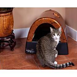 Kitty A GoGo Burlwood-print Stationary Plastic Designer Cat Litter Box