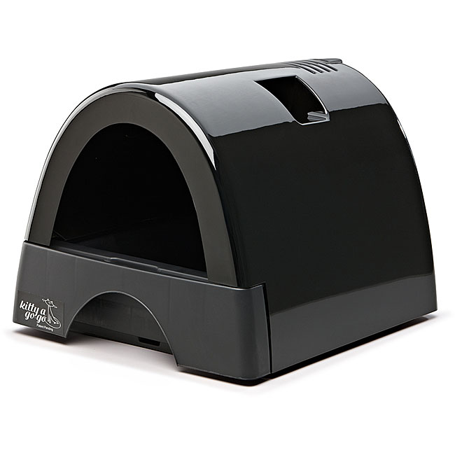 Kitty A GoGo Black Plastic Designer Cat Litter Box with Domed Lid - 14316896 - Overstock.com ...