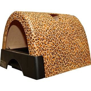 Kitty A GoGo Leopard-print Plastic Stationary Designer Cat Litter Box