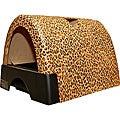 Kitty A GoGo Leopard-print Plastic Stationary Designer Cat Litter Box