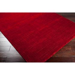 Hand-woven Solid Red Casual Portage Rug (2' x 3')