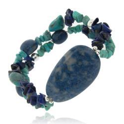 Glitzy Rocks Silver Denim Lapis And Turquoise Stretch bracelet