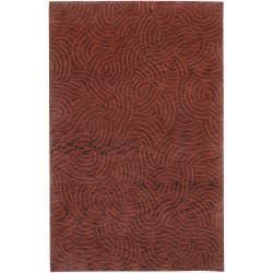 Julie Cohn Red Hand-Knotted Multicolored Vilas Abstract Design Wool Rug (4' x 6')