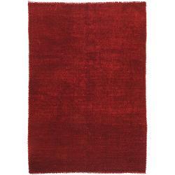 Hand-woven Burgundy Bristol Wool Shag Rug (8' x 10')