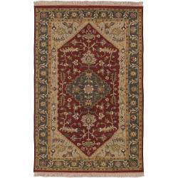 Hand-Knotted Multicolored Bristol Semi-Worsted New Zealand Wool Oriental Rug (4' x 6')