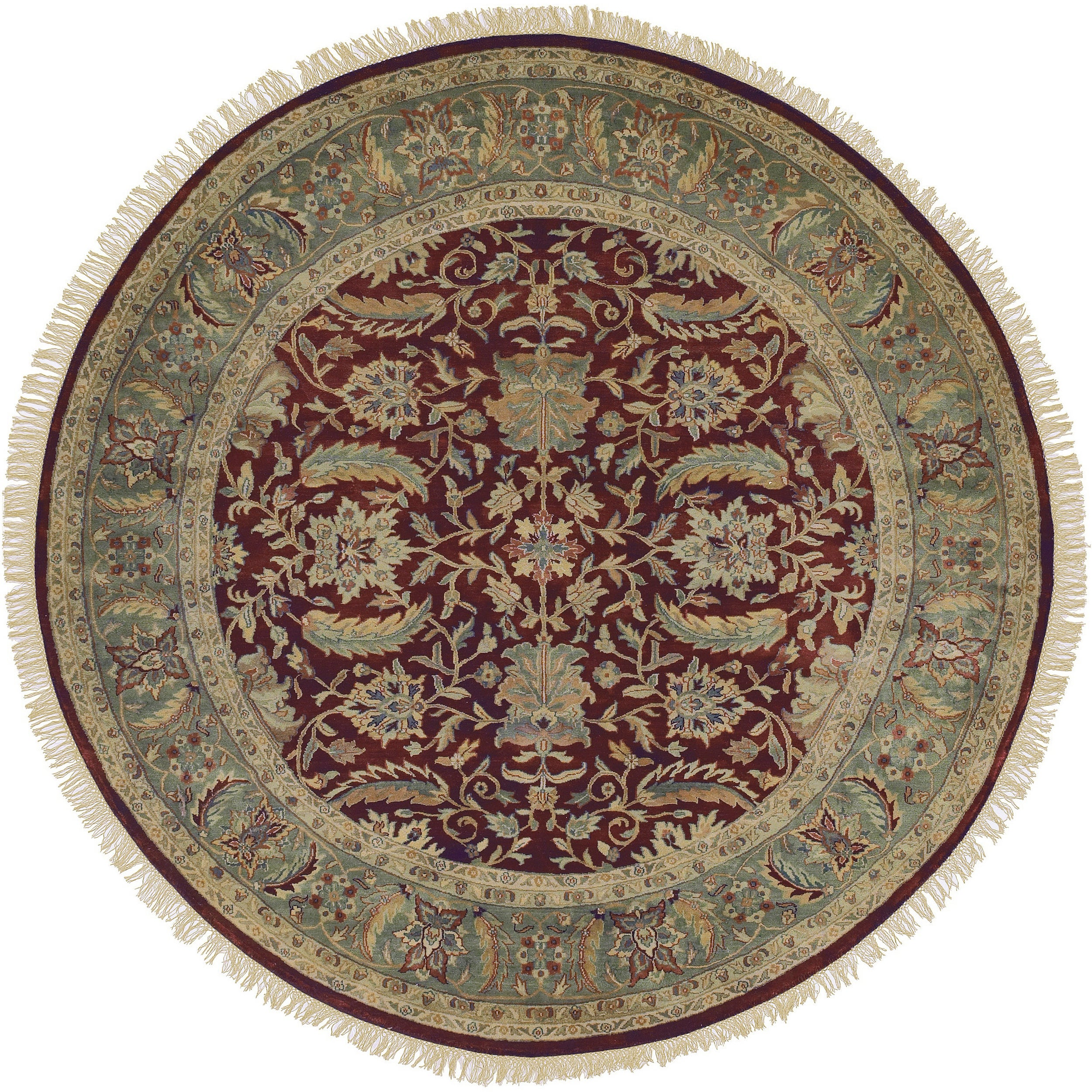 Hand-knotted Multicolored Borough Semi-Worsted New Zealand Wool Rug (8' Round)