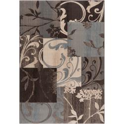 Woven Neutral Toned Haines Floral Patchwork Rug (1'10 x 2'11)