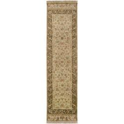 Hand-knotted Green Haines New Zealand Hard Twist Wool Rug (2'6 x 10')