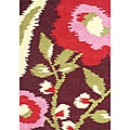 'Me & Mom' Rio Red Floral Wool Rug (5 x 8)
