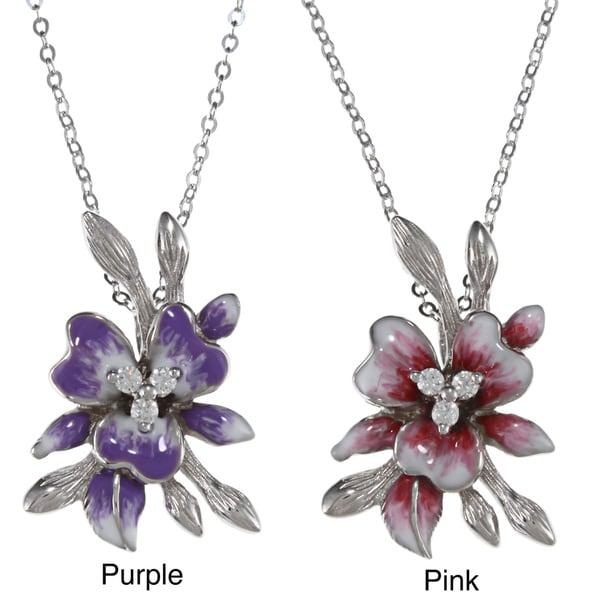 La Preciosa Sterling Silver Enamel and CZ Flower Pendant
